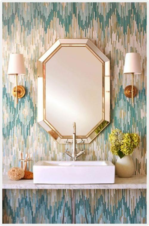 waschbecken wandspiegel Badezimmer und Badezimmerfliesen farben