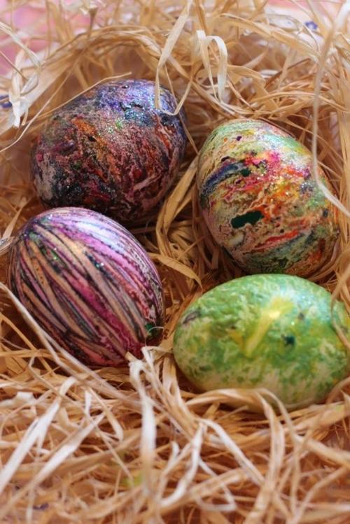 Bastelideen nest Ostern interessant gemustert