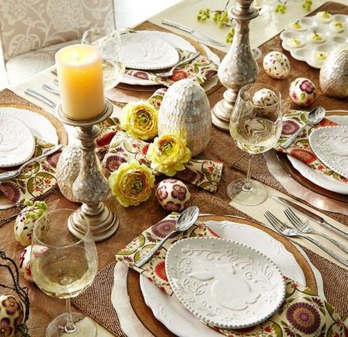 Bastelideen dekoration Ostern kerzen tisch