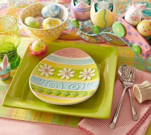 Bastelnideen grün teller geschirr Ostern teller grün eier
