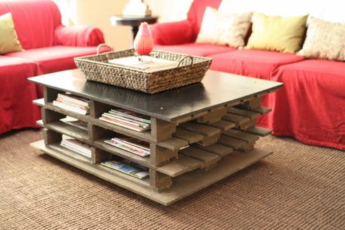 Coole Möbel bastelideen couchtisch staufläche Europaletten DIY