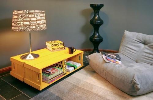 Coole Möbel DIY bastelideen gelb lackiert Europaletten