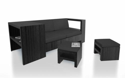 Coole Möbel schwarz bemalt Europaletten DIY bastelideen