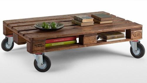 bastelideen tisch rollen Coole Möbel aus Europaletten DIY