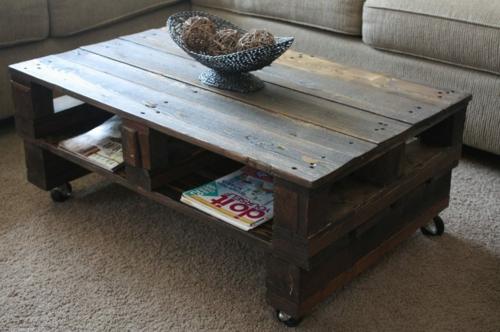 Wohnzimmertisch aus paletten  Coole Möbel aus Europaletten - 55 Bastelideen für alte Holzpaletten
