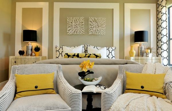 Dekoideen fürs Schlafzimmer gelbe dekoartikel wurfkissen
