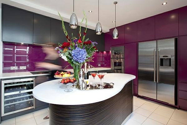 kuchenschranke farben : purpurrot dunkel ausgekl?gelt look Farben f?r K?chenschr?nke