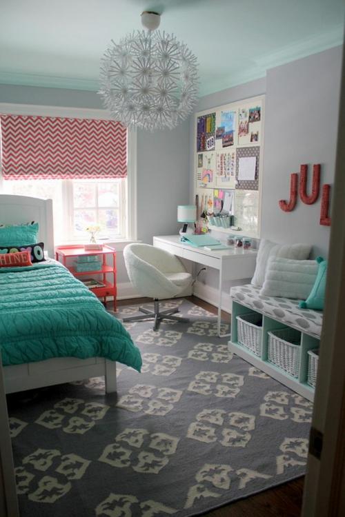 attraktiv kronleuchter Farbgestaltung fürs Jugendzimmer  schreibtisch sitzecke