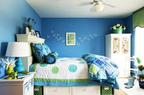 blau grün schmetterlinge Farbgestaltung fürs Jugendzimmer