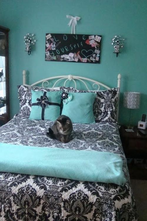 Jugendzimmer blau Farbgestaltung   wand mädchen lieben