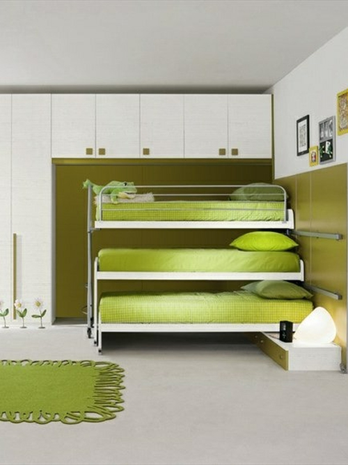 grün hochbett Farbgestaltung  Jugendzimmer  ausziehbett