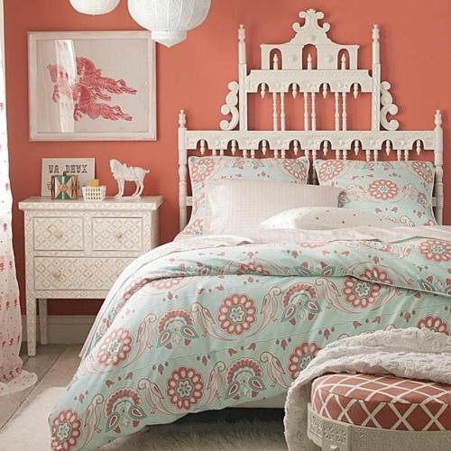 groß kopfteil holz bettdecke Farbgestaltung fürs Jugendzimmer