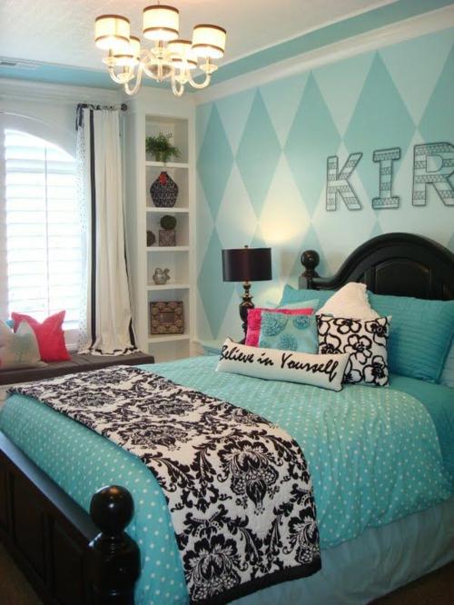 mädchen blau Farbgestaltung Jugendzimmer  schwarz vintage