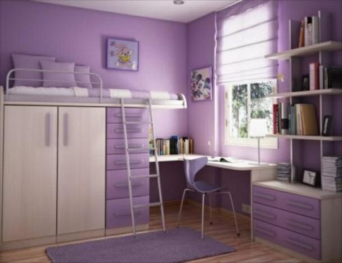 praktisch kompakt Farbgestaltung fürs Jugendzimmer lila