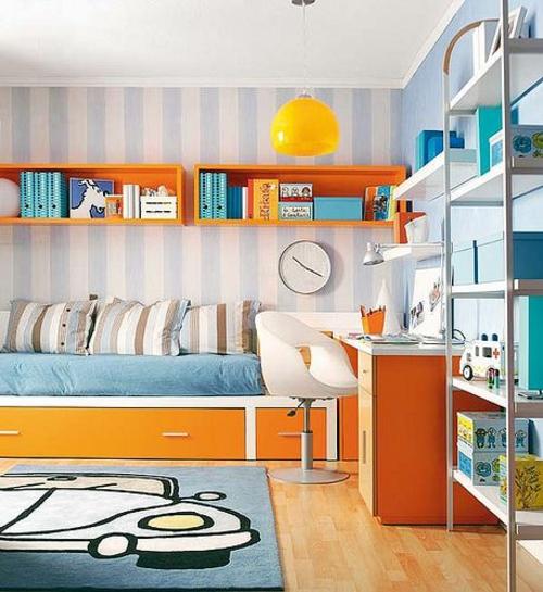 regale bücher Farbgestaltung fürs Jugendzimmer streifen