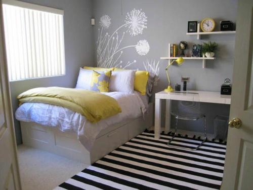 tapeten muster Farbgestaltung fürs Jugendzimmer streifen teppich