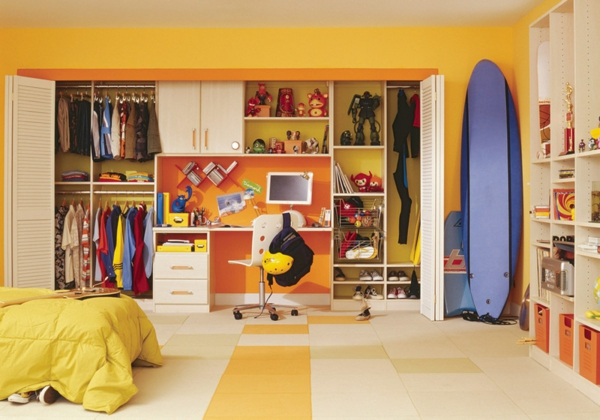 Farbgestaltung und Wandfarben Ideen büro kinderzimmer kleiderschrank