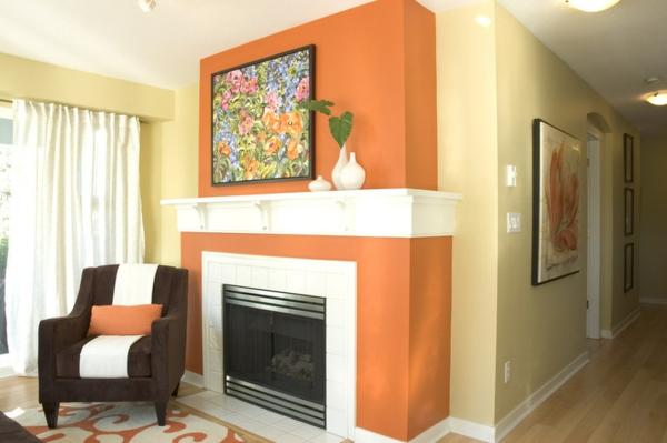 Farbgestaltung und Wandfarben kamin gemälde sessel