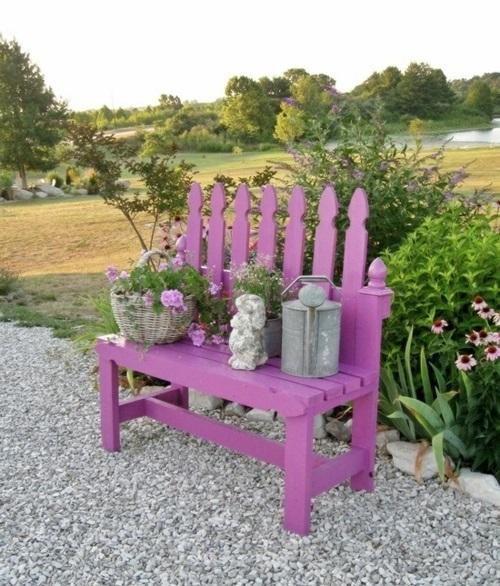 Gartenbank selber  bauen Anleitung rückenlehne leuchtend farbe