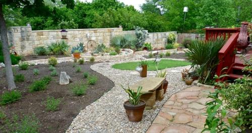 Gartengestaltung treppe geländer mit Kies örtlich