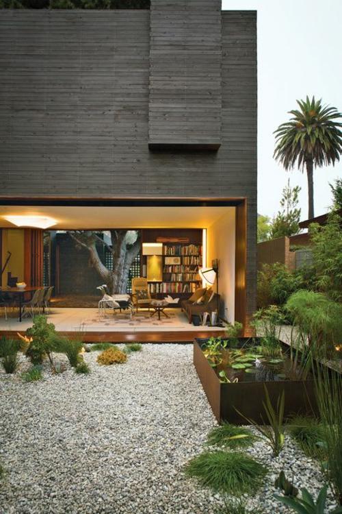 Garten modern kies  34 Ideen für Gartengestaltung mit Kies - preisgünstige Lösung