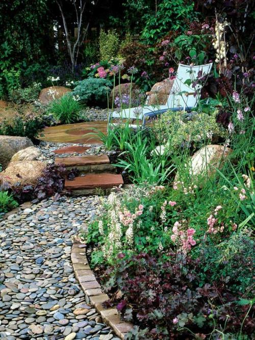 erholungsecke freien Gartengestaltung mit Kies