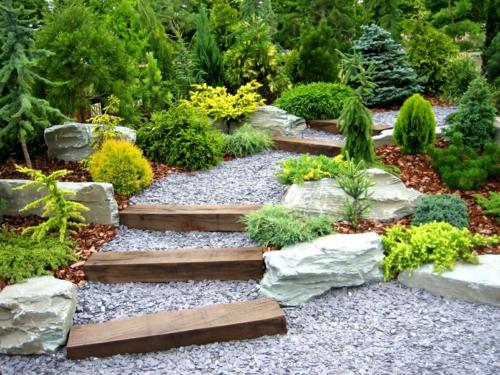 landschaft mit Kiesel fußweg stufen Gartengestaltung