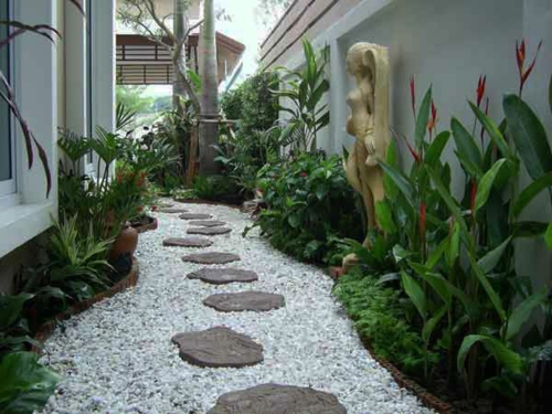 hinterhof fußweg Gartengestaltung mit Kies