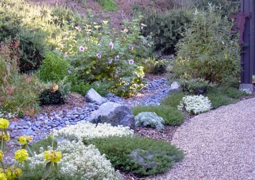 lila kiesel Gartengestaltung mit Kiesel bemalt