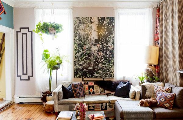 Hängende Zimmerpflanzen und Balkonpflanzen wohnzimmer sofa