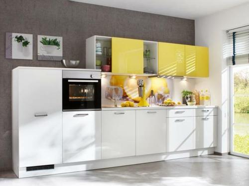 einbauen Küchenrückwand  gelb motive frisch frühling