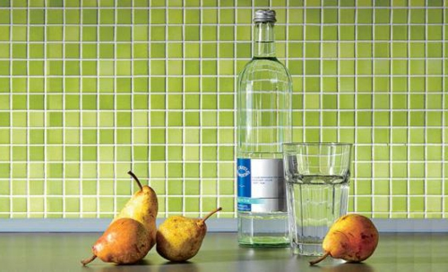einbauen Küchenrückwand grün kühn flaschen birnen