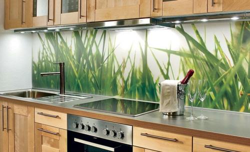 einbauen gras grün frisch Küchenrückwand  gemuster