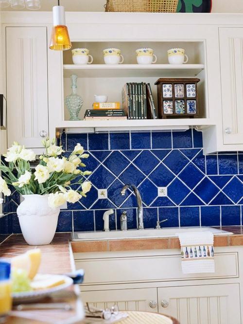 einbauen Küchenrückwand  königsblau