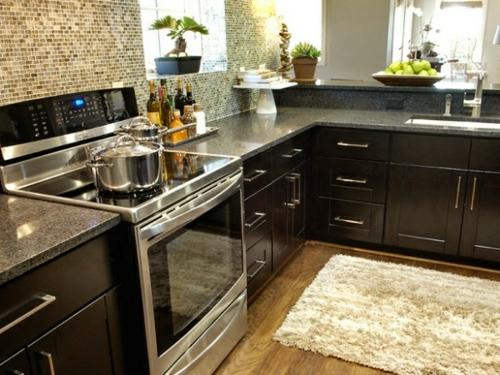 Küchenrückwand einbauen kücheninsel mosaik braun