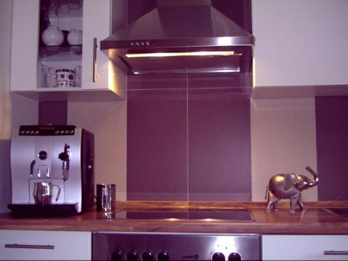 Küchenrückwand einbauen lila farben nuancen purpurrot