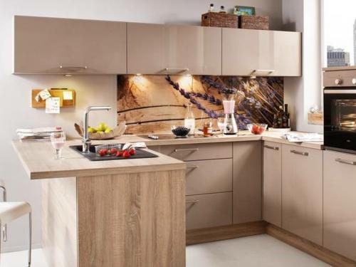 Küchenrückwand fliesenspiegel warm holz einrichtung