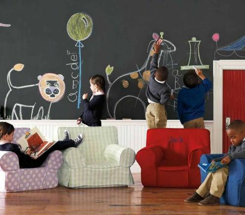 Kinderzimmer streichen wandgestaltung idee design tafel