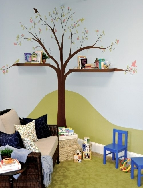 tafel bunt bcherregale baum kinderzimmer streichen wandgestaltung - Kinderzimmer Streichen