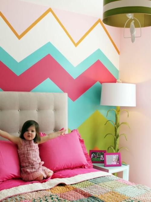 Wandgestaltung Idee Kinderzimmer Streichen Design Tafel Bunt Chavron