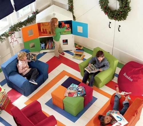 Kinderzimmer  idee design tafel bunt labyrinth streichen wandgestaltung