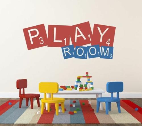 Kinderzimmer wandgestaltung idee design tafel bunt spielraum streichen