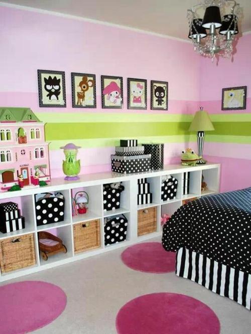 Kinderzimmer Wandgestaltung Idee Design Tafel Bunt Teppich Rund Streichen