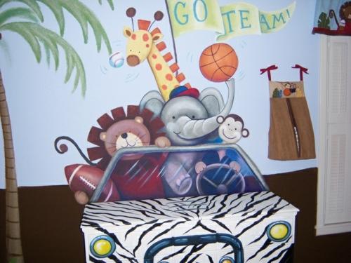 wandgestaltung idee design tafel bunt tiere Kinderzimmer streichen