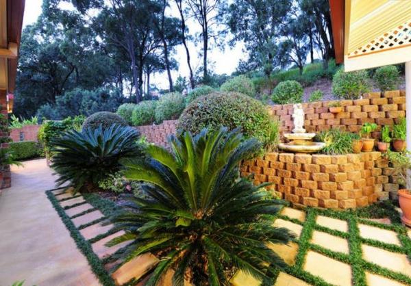 palmen Gartenideen landschaft trends einladend beton