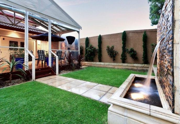 wasserfall Gartengestaltung Gartenideen landschaft trends einladend frisch