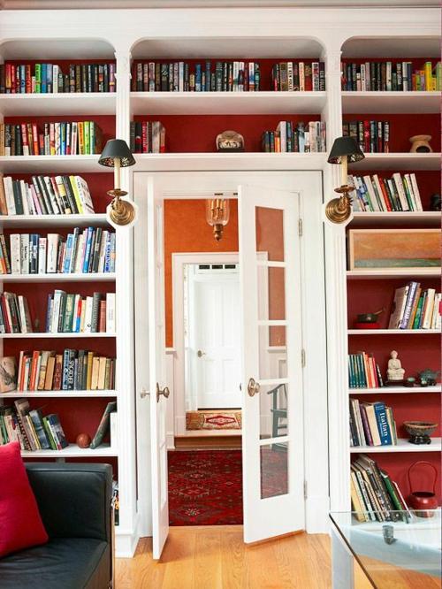 wohnen schön gemütlich bunt Bücherschrank bücherregale