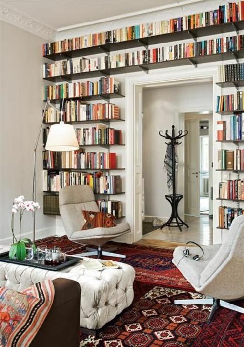 wohnen schön gemütlich wand Bücherschrank bücherregale