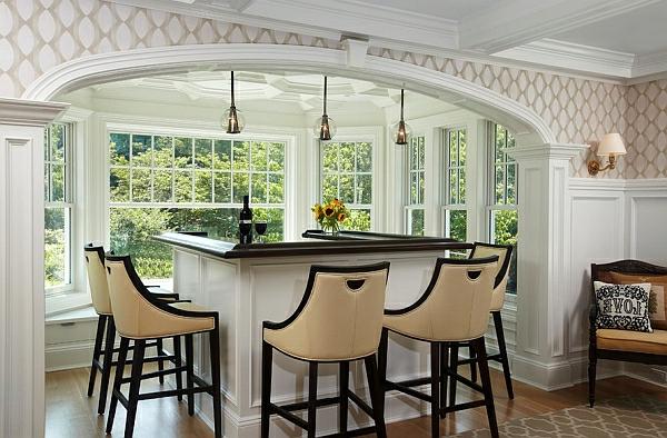 Pendelleuchten fürs Esszimmer kücheninsel beige hocker mit lehnen