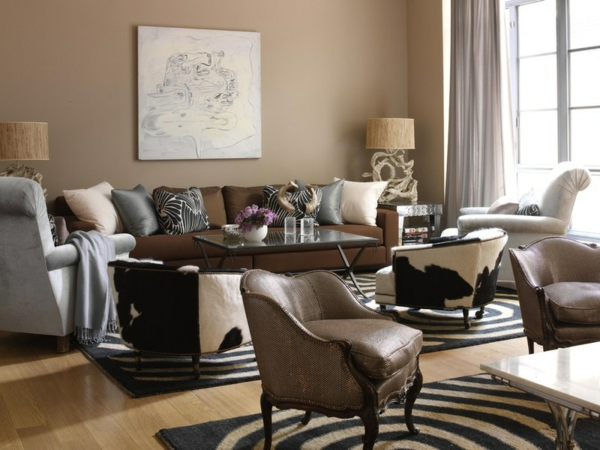 zebra wohnzimmer:Frische und Farben zu Hause – gemusterte Polsterung und angenehme
